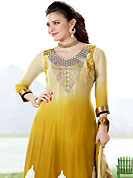 Exquisite combination of color, fabric can be seen here. The dazzling shaded yellow georgette churidar suit have amazing embroidery patch work is done with resham and sequins work. Embroidery work on kameez is stunning. This is perfect party wear suit. The entire ensemble makes an excellent wear. Matching churidar and double dye dupatta is available with this suit. Slight Color variations are possible due to differing screen and photograph resolutions.