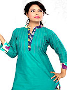 Let your personality articulate for you with this amazing embroidered suit. The dazzling turquoise green cotton readymade salwar kameez have amazing buttons and patch work. The entire ensemble makes an excellent wear. Contrasting multicolor cotton salwar and double dye crush cotton dupatta is available with this suit. Slight Color variations are possible due to differing screen and photograph resolutions.