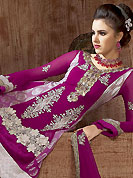 Breathtaking collection of suits with stylish embroidery work and fabulous style. The dazzling magenta faux georgette and viscose churidar suit have amazing embroidery patch work is done with resham, zari, stone and lace work. Beautiful embroidery work on kameez is stunning. The entire ensemble makes an excellent wear. Matching santoon churidar and faux chiffon dupatta is available with this suit. Slight Color variations are possible due to differing screen and photograph resolutions.