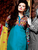 It is color this season and bright shaded suits are really something that is totally in vogue. The dazzling turquoise blue chiffon churidar suit have amazing embroidery patch work is done with resham work. Beautiful embroidery work on kameez is stunning. The entire ensemble makes an excellent wear. Matching santoon churidar and yellow chiffon dupatta is available with this suit. Slight Color variations are possible due to differing screen and photograph resolutions.