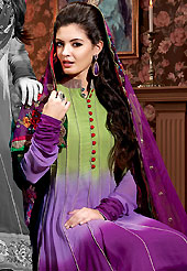 It is color this season and bright shaded suits are really something that is totally in vogue. The dazzling shaded purple and pastel green chiffon churidar suit have amazing embroidery patch work is done with resham and applique work. Beautiful embroidery work on kameez is stunning. The entire ensemble makes an excellent wear. Matching purple santoon churidar and chiffon dupatta is available with this suit. Slight Color variations are possible due to differing screen and photograph resolutions.