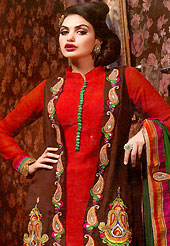 Get ready to sizzle all around you by sparkling suit. The dazzling red and brown chiffon churidar suit have amazing embroidery patch work is done with resham, zari, stone and lace work. Beautiful embroidery work on kameez is stunning. The entire ensemble makes an excellent wear. Contrasting green santoon salwar and chiffon dupatta is available with this suit. Slight Color variations are possible due to differing screen and photograph resolutions.