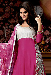 Style and trend will be at the peak of your beauty when you adorn this suit. The dazzling pink chiffon churidar suit have amazing embroidery patch work is done with resham, stone and beads work. Beautiful embroidery work on kameez is stunning. The entire ensemble makes an excellent wear. Contrasting off white santoon churidar and shaded chiffon dupatta is available with this suit. Slight Color variations are possible due to differing screen and photograph resolutions.