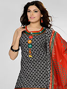 A desire that evokes a sense of belonging with a striking details. The dazzling black and off white cotton readymade salwar kameez have amazing floral print and embroidery patch work is done with resham, sequins, stone and beads work. The entire ensemble makes an excellent wear. Contrasting red cotton salwar and red and black chiffon dupatta is available with this suit. Slight Color variations are possible due to differing screen and photograph resolutions.