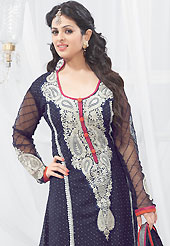 A desire that evokes a sense of belonging with a striking details. This navy blue faux georgette churidar suit have amazing embroidery patch work is done with resham and stone work. Embroidery on kameez is highlighting the beauty of this suit. Matching churidar and dupatta come along with this suit. Slight Color variations are possible due to differing screen and photograph resolutions.