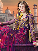 An occasion wear perfect is ready to rock you. The dazzling purple and magenta net anarkali churidar suit have amazing embroidery patch work is done with resham, zari, sequins, stone and cutbeads work. Beautiful embroidery work on kameez is stunning. The entire ensemble makes an excellent wear. Matching santoon churidar and yellow net dupatta is available with this suit. Slight Color variations are possible due to differing screen and photograph resolutions.