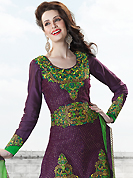 The traditional patterns used on this suit maintain the ethnic look. The dazzling violet art silk salwar kameez have amazing embroidery patch work is done with resham, zari and sequins work. Beautiful embroidery work on kameez is stunning. The entire ensemble makes an excellent wear. Matching santoon salwar and green dupatta is available with this suit. Slight Color variations are possible due to differing screen and photograph resolutions.