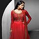 Red Net Readymade Anarkali Churidar Kameez with Dupatta