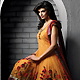 Light Orange Net Readymade Anarkali Churidar Kameez with Dupatta
