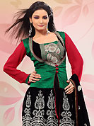 The color range from natural shades looks ravishing. The dazzling green, black and red faux georgette churidar suit have amazing embroidery patch work is done with resham, zari and sequins work. Beautiful embroidery work on kameez is stunning. Matching black santoon churidar and faux chiffon dupatta is available with this suit. Slight Color variations are possible due to differing screen and photograph resolutions.