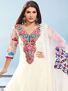 The glamorous silhouette to meet your most dire fashion needs. The dazzling off white faux georgette churidar suit have amazing embroidery patch work is done with resham and zari work. Beautiful embroidery work on kameez is stunning. The entire ensemble makes an excellent wear. Matching santoon churidar and net dupatta is available with this suit. Slight Color variations are possible due to differing screen and photograph resolutions.