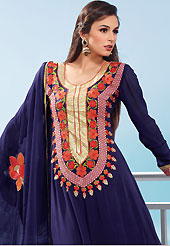 This season dazzle and shine in pure colors. The dazzling navy blue faux georgette churidar suit have amazing embroidery patch work is done with resham, zari and sequins work. Beautiful embroidery work on kameez is stunning. The entire ensemble makes an excellent wear. Matching santoon churidar and dupatta is available with this suit. Slight Color variations are possible due to differing screen and photograph resolutions.