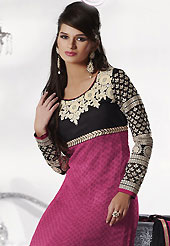 Attract all attentions with this embroidered suit. The dazzling dark pink and black chiffon churidar suit have amazing embroidery patch work is done with resham and zari work. Beautiful embroidery work on kameez is stunning. The entire ensemble makes an excellent wear. Contrasting black santoon churidar and chiffon dupatta is available with this suit. Slight Color variations are possible due to differing screen and photograph resolutions.