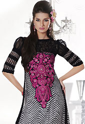 Style and trend will be at the peak of your beauty when you adorn this suit. The dazzling off white and black chiffon churidar suit have amazing abstract print and embroidery patch work is done with resham, stone and lace work. Beautiful embroidery work on kameez is stunning. The entire ensemble makes an excellent wear. Matching black santoon churidar and black chiffon and net dupatta is available with this suit. Slight Color variations are possible due to differing screen and photograph resolutions.