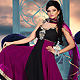 Dark Magenta and Black Faux Georgette Readymade Anarkali Churidar Kameez with Dupatta
