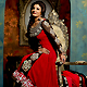 Red and Black Georgette Anarkali Churidar Kameez with Dupatta