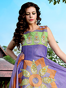 An occasion wear perfect is ready to rock you. The dazzling light purple and light green crepe silk readymade churidar suit have amazing embroidery patch bordered work is done with resham work. Beautiful embroidery work on kameez is stunning. The entire ensemble makes an excellent wear. Matching light green churidar and shaded dupatta is available with this suit. Slight Color variations are possible due to differing screen and photograph resolutions.