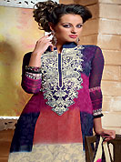 A desire that evokes a sense of belonging with a striking details. The dazzling multicolor georgette churidar suit have amazing floral print and embroidery patch work is done with resham and applique work. The entire ensemble makes an excellent wear. Matching churidar and printed dupatta is available with this suit. Slight Color variations are possible due to differing screen and photograph resolutions.