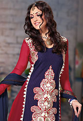 The traditional patterns used on this suit maintain the ethnic look. The dazzling navy blue and dark red georgette churidar suit have amazing embroidery patch work is done with resham, sequins and lace work. Beautiful embroidery work on kameez is stunning. The entire ensemble makes an excellent wear. Contrasting off white santoon churidar and navy blue dupatta is available with this suit. Slight Color variations are possible due to differing screen and photograph resolutions.