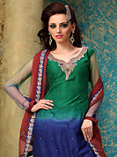 Breathtaking collection of suits with stylish embroidery work and fabulous style. The dazzling green and dark blue net churidar suit have amazing embroidery patch work is done with resham, zari, sequins and stone work. The entire ensemble makes an excellent wear. Contrasting maroon churidar and maroon dupatta is available with this suit. Slight Color variations are possible due to differing screen and photograph resolutions.