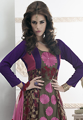 Dreamy variation on shape and forms compliment your style with tradition. The dazzling dusty fawn and chanderi silk and brocade readymade churidar suit have amazing embroidery patch work is done with resham, mirror and lace work. Beautiful embroidery work on kameez is stunning. The entire ensemble makes an excellent wear. Contrasting purple santoon churidar and pink chiffon dupatta is available with this suit. Slight Color variations are possible due to differing screen and photograph resolutions.