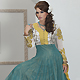 Teal Green and Off white Shimmer Readymade Churidar Kameez with Dupatta