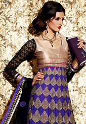 Outfit is a novel ways of getting yourself noticed. The dazzling dark purple georgette jacquard anarkali churidar suit have amazing embroidery patch work is done with zari, stone and lace work. Beautiful embroidery work on kameez is stunning. The entire ensemble makes an excellent wear. Contrasting black churidar and dupatta is available with this suit. Slight Color variations are possible due to differing screen and photograph resolutions.