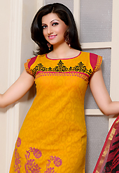 Attract all attentions with this embroidered suit. The dazzling yellow cotton jacquard churidar suit have amazing floral, abstract, block print and patch work. The entire ensemble makes an excellent wear. Contrasting red cambric cotton churidar and super net dupatta is available with this suit. Slight Color variations are possible due to differing screen and photograph resolutions.