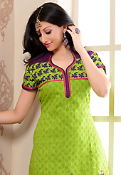 Style and trend will be at the peak of your beauty when you adorn this suit. The dazzling light green cotton jacquard churidar suit have amazing floral, block print and patch work. The entire ensemble makes an excellent wear. Contrasting purple cambric cotton churidar and chiffon dupatta is available with this suit. Slight Color variations are possible due to differing screen and photograph resolutions.