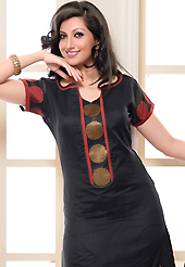 A desire that evokes a sense of belonging with a striking details. The dazzling black chanderi silk churidar suit have amazing embroidery patch work is done with resham and zari work. The entire ensemble makes an excellent wear. Contrasting red cotton silk churidar and black chanderi silk dupatta is available with this suit. Slight Color variations are possible due to differing screen and photograph resolutions.