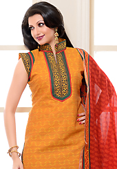 Attract all attentions with this embroidered suit. The dazzling dark yellow cotton silk churidar suit have amazing block print and patch work. The entire ensemble makes an excellent wear. Contrasting green cotton silk churidar and red south silk dupatta is available with this suit. Slight Color variations are possible due to differing screen and photograph resolutions.