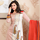 Off White Cotton Silk Churidar Kameez with Dupatta