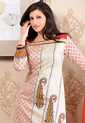 Outfit is a novel ways of getting yourself noticed. The dazzling off white cotton silk churidar suit have amazing floral, paisley, block print and patch work. The entire ensemble makes an excellent wear. Contrasting red cotton silk churidar and south silk dupatta is available with this suit. Slight Color variations are possible due to differing screen and photograph resolutions.