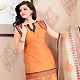 Light Orange Chanderi Silk Churidar Kameez with Dupatta