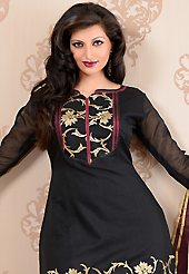Take the fashion industry by storm in this beautiful embroidered suit. The dazzling black chanderi silk churidar suit have amazing embroidery patch work is done with kasab work. The entire ensemble makes an excellent wear. Matching cotton silk churidar and burgundy super net dupatta is available with this suit. Slight Color variations are possible due to differing screen and photograph resolutions.