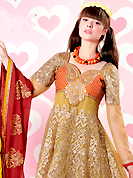 Attract all attentions with this embroidered suit. The dazzling light pastel green net churidar suit have amazing embroidery patch work is done with resham, zari, sequins and stone work. The entire ensemble makes an excellent wear. Contrasting maroon santoon churidar and maroon chiffon dupatta is available with this suit. Slight Color variations are possible due to differing screen and photograph resolutions.
