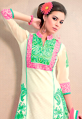 The glamorous silhouette to meet your most dire fashion needs. This cream cotton jacquard churidar suit have amazing embroidery patch work is done with resham work. Embroidery on kameez is highlighting the beauty of this suit. Contrasting pink churidar and pink chiffon dupatta come along with this suit. Slight Color variations are possible due to differing screen and photograph resolutions.