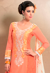 The evolution of style species collection spells pure femininity. This salmon cotton churidar suit have amazing embroidery patch work is done with resham, lace and cutwork. Embroidery on kameez is highlighting the beauty of this suit. Matching churidar and cream chiffon dupatta come along with this suit. Slight Color variations are possible due to differing screen and photograph resolutions.