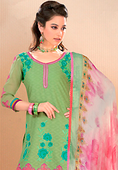 An occasion wear perfect is ready to rock you. This light olive green cotton jacquard churidar suit have amazing embroidery patch work is done with resham work. Embroidery on kameez is highlighting the beauty of this suit. Matching churidar and shaded chiffon dupatta come along with this suit. Slight Color variations are possible due to differing screen and photograph resolutions.