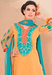 Style and trend will be at the peak of your beauty when you adorn this suit. This light orange cotton churidar suit have amazing embroidery patch work is done with resham work. Embroidery on kameez is highlighting the beauty of this suit. Matching churidar and blue chiffon dupatta come along with this suit. Slight Color variations are possible due to differing screen and photograph resolutions.