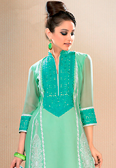 It is color this season and bright shaded suits are really something that is totally in vogue. This sea green cotton churidar suit have amazing embroidery patch work is done with resham work. Embroidery on kameez is highlighting the beauty of this suit. Contrasting white churidar and white chiffon dupatta come along with this suit. Slight Color variations are possible due to differing screen and photograph resolutions.