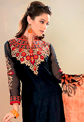 Be ready to slip in the comfort zone of this embroidered suit. This black cotton jacquard churidar suit have amazing embroidery patch work is done with resham work. Embroidery on kameez is highlighting the beauty of this suit. Contrasting beige churidar and shaded chiffon dupatta come along with this suit. Slight Color variations are possible due to differing screen and photograph resolutions.