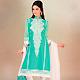 Light Green Cotton Churidar Kameez with Dupatta