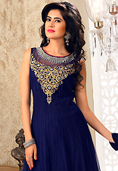 Embroidered suits are the best choice for a girl to enhance her feminine look. The dazzling navy blue net readymade anarkali churidar suit have amazing embroidery patch work is done with resham, zari, stone, zardosi and lace work. Beautiful embroidery work on kameez is stunning. The entire ensemble makes an excellent wear. Matching churidar and dupatta is available with this suit. Slight Color variations are possible due to differing screen and photograph resolutions.
