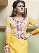 Outfit is a novel ways of getting yourself noticed. The dazzling yellow cotton churidar suit have amazing embroidery patch work is done with resham, stone and lace work. The entire ensemble makes an excellent wear. Matching churidar and chiffon dupatta is available with this suit. Slight Color variations are possible due to differing screen and photograph resolutions.