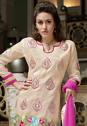 An occasion wear perfect is ready to rock you. The dazzling light fawn cotton churidar suit have amazing embroidery patch work is done with resham and zari work. The entire ensemble makes an excellent wear. Contrasting pink churidar and pink chiffon dupatta is available with this suit. Slight Color variations are possible due to differing screen and photograph resolutions.