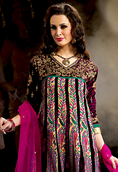 Breathtaking collection of suits with stylish embroidery work and fabulous style. The dazzling dark purple velvet and georgette churidar suit have amazing embroidery patch work is done with resham, zari and stone work. Beautiful embroidery work on kameez is stunning. The entire ensemble makes an excellent wear. Contrasting magenta santoon churidar and magenta chiffon dupatta is available with this suit. Slight Color variations are possible due to differing screen and photograph resolutions.