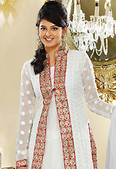It is color this season and bright shaded suits are really something that is totally in vogue. The dazzling off white faux georgette readymade churidar suit have amazing embroidery patch work is done with resham, zari, cutdana and lace work. The entire ensemble makes an excellent wear. Matching churidar and dupatta is available with this suit. Slight Color variations are possible due to differing screen and photograph resolutions.