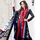 Dark Grey and Red Satin Anarkali Churidar Kameez with Dupatta