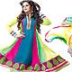Multicolor Chiffon Anarkali Churidar Kameez with Dupatta